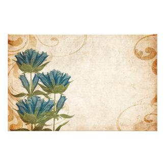 El azul florece el boda del vintage papelería de diseño