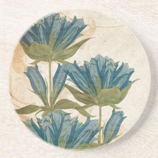 El azul florece el boda del vintage posavasos personalizados