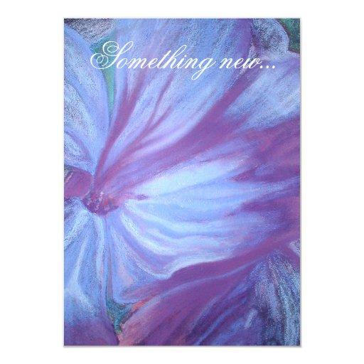 """El azul florece el boda romántico invita invitación 4.5"""" x 6.25"""""""