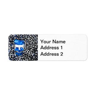 El azul florece el cráneo en estampado leopardo etiquetas de remite