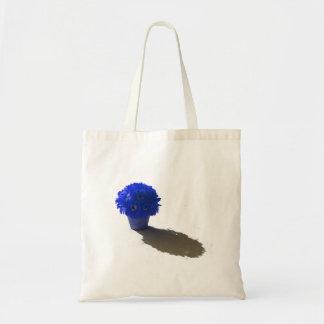 El azul florece el cubo y la sombra blancos bolsa tela barata