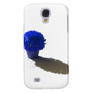 El azul florece el cubo y la sombra blancos funda para galaxy s4