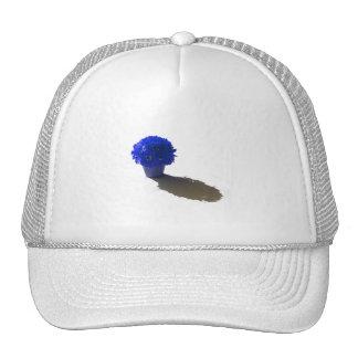 El azul florece el cubo y la sombra blancos gorro