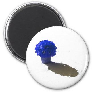 El azul florece el cubo y la sombra blancos imán redondo 5 cm