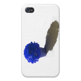 El azul florece el cubo y la sombra blancos iPhone 4 funda