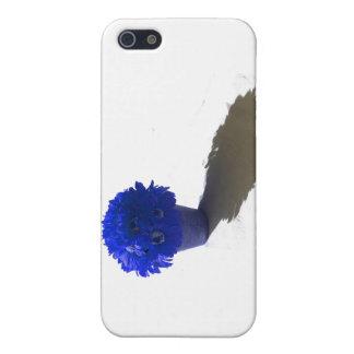 El azul florece el cubo y la sombra blancos iPhone 5 carcasa
