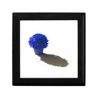 El azul florece el cubo y la sombra blancos joyero cuadrado pequeño
