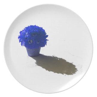 El azul florece el cubo y la sombra blancos plato de comida
