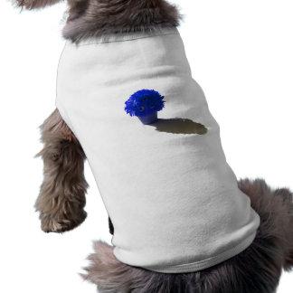 El azul florece el cubo y la sombra blancos playera sin mangas para perro