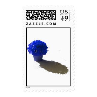El azul florece el cubo y la sombra blancos timbres postales
