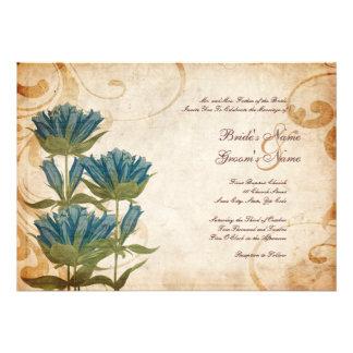 El azul florece invitaciones del boda del vintage