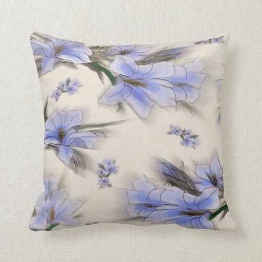 El azul florece la almohada de Mojo del americano
