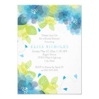 El azul florece la ducha nupcial del boda floral invitación 12,7 x 17,8 cm