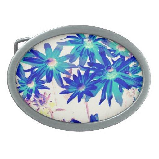 El azul florece la hebilla del cinturón oval hebilla de cinturon oval