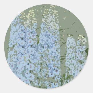 El azul florece la impresión etiquetas redondas