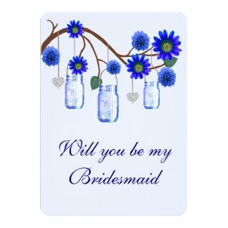 El azul florece la tarjeta de la dama de honor de comunicado