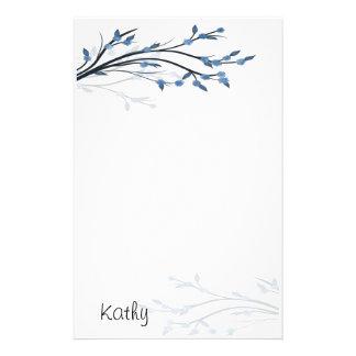 El azul florece los efectos de escritorio papelería de diseño