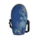 El azul florece remolino elegante de las hojas del bolsa messenger