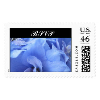 El azul florece RSVP que casa el sello