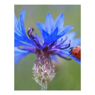El azul florece vid del arte del destino del amor membrete personalizado