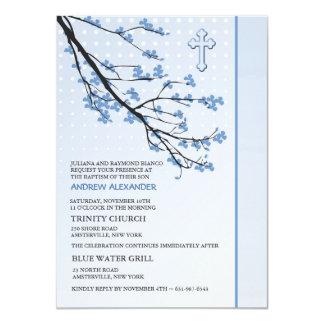 El azul floreciente ramifica invitación