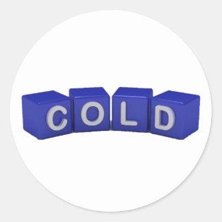 El azul frío cubica a los pegatinas pegatina redonda