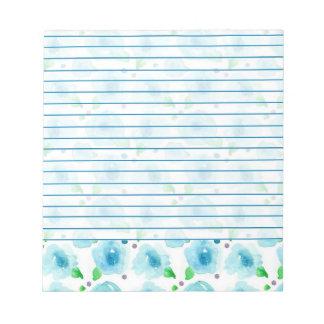 El azul grande florece las flores de la acuarela bloc de notas