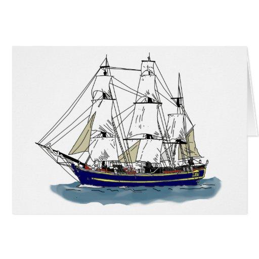 El azul grande - nave alta tarjeta de felicitación
