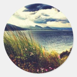 El azul gris oscuro del lakeview de la hierba se pegatina redonda