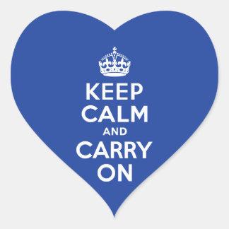 El azul guarda calma y continúa calcomanías de corazones personalizadas