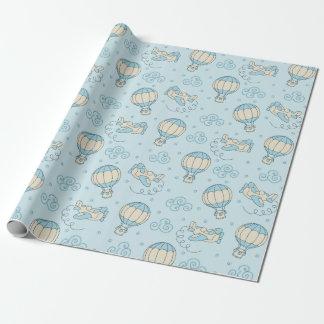 El azul hincha el papel de embalaje del bebé de papel de regalo