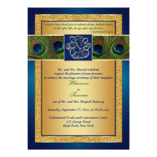 El azul hindú de Ganesh boda del pavo real del or