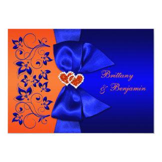El azul IMPRESO de la CINTA, boda floral Invitación 12,7 X 17,8 Cm