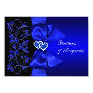 El azul IMPRESO de la CINTA, boda floral negro Invitación 12,7 X 17,8 Cm