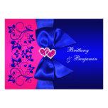 El azul IMPRESO de la CINTA, boda floral rosado in