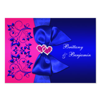 El azul IMPRESO de la CINTA, boda floral rosado Invitación 12,7 X 17,8 Cm