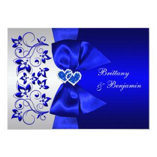 El azul IMPRESO de la CINTA, el boda floral de Invitación 12,7 X 17,8 Cm