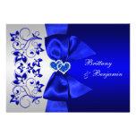 El azul IMPRESO de la CINTA, el boda floral de pla