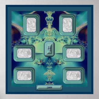 El azul Jewels 1 Collage-Plantilla Posters
