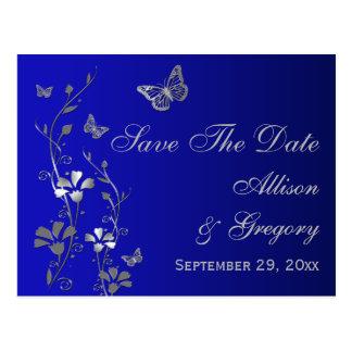 El azul, las mariposas de plata ahorra la postal d