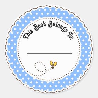 El azul lindo manosea Bookplates de la lectura de Pegatina Redonda