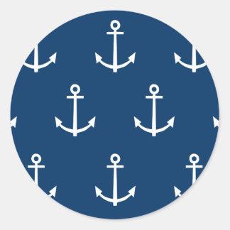 El azul marino ancla el modelo 1 pegatina redonda