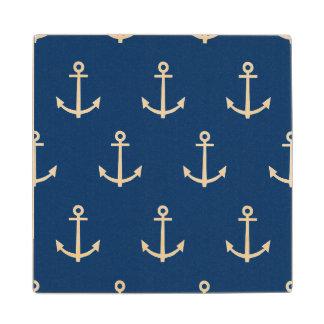 El azul marino ancla el modelo 1 posavasos de madera