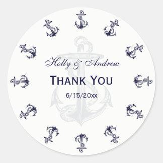 El azul marino náutico ancla el sello del sobre de pegatina redonda