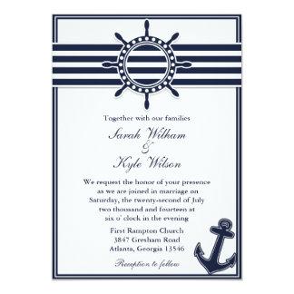 El azul marino náutico traga la invitación del