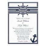 El azul marino náutico traga la invitación del bod