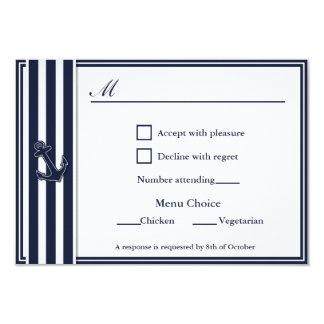"""El azul marino náutico traga la opción del menú de invitación 3.5"""" x 5"""""""