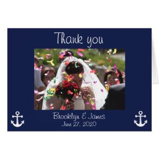 El azul marino que el boda náutico le agradece tarjeta pequeña