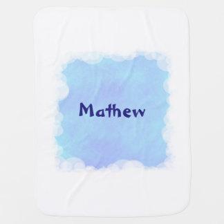 El azul mezcla la manta personalizada las nubes mantita para bebé