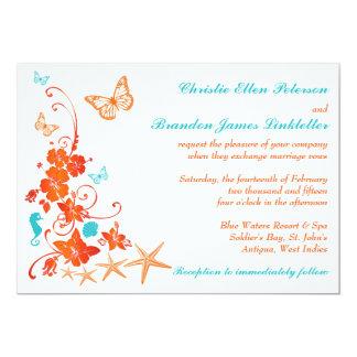 """El azul, naranja, el boda de playa tropical blanco invitación 5"""" x 7"""""""